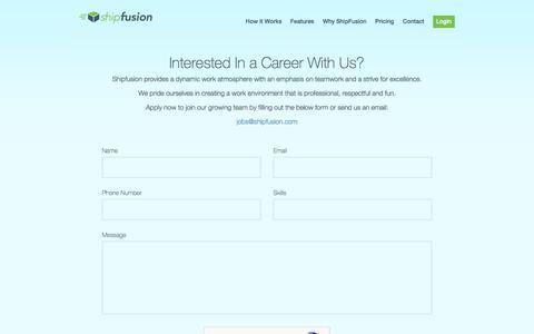 Screenshot of Jobs Page shipfusion.com - Shipfusion.com - The Next Generation of E-Commerce Logistics - captured Nov. 15, 2017