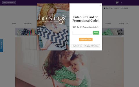 Screenshot of Home Page hotslings.com - Hot Slings - Your Life and Style Baby Geared™ - Baby Slings, Baby Carriers, Adjustable Baby Slings - captured Nov. 11, 2018