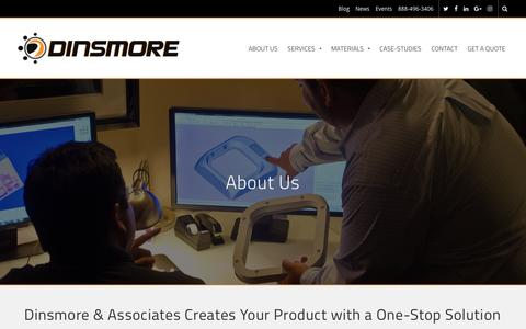 Screenshot of About Page dinsmoreinc.com - Why 3D printing with Dinsmore - captured May 9, 2017