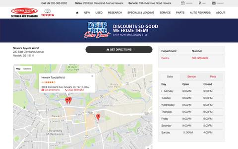 Screenshot of Maps & Directions Page Hours Page newarktoyotaworld.com - Hours & Directions | Used Cars, Newark, DE | Newark ToyotaWorld - captured Jan. 23, 2018