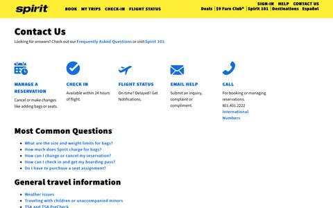 Screenshot of Contact Page spirit.com - Contact Us   Spirit Airlines - captured March 7, 2019