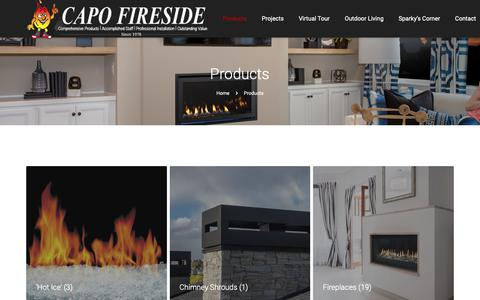 Screenshot of Products Page capofireside.com - Products Archive - Capo Fireside - captured Sept. 26, 2018