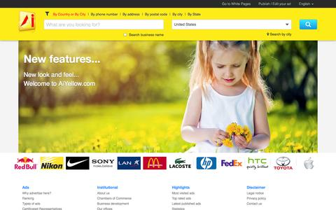 Screenshot of Home Page aiyellow.com - AiYellow English - captured Sept. 18, 2014