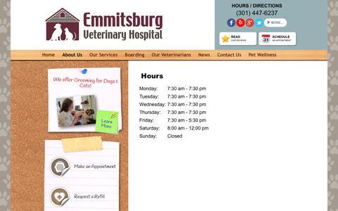 Screenshot of Hours Page emmitsburgvet.com - About Us:Hours - Emmitsburg Veterinary Hospital - captured Nov. 6, 2016