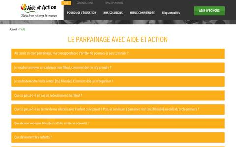 Screenshot of FAQ Page aide-et-action.org - F.A.Q. | - captured Oct. 4, 2014