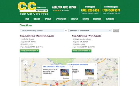 Screenshot of Maps & Directions Page ccautomotive.com - Directions | C&C Automotive - captured Sept. 30, 2014