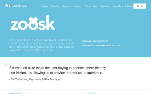 Screenshot of Case Studies Page siftscience.com - Fraud Management Case Study Zoosk | Sift Science - captured April 9, 2018