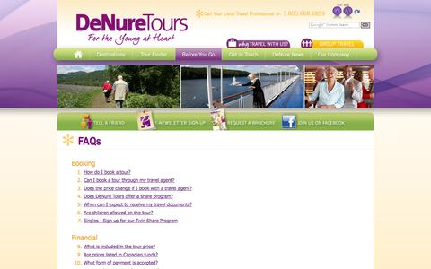 Screenshot of FAQ Page denuretours.com - DeNure Tours Provides Answers to Mature travellers – FAQs – DeNure Tours - Canada - captured Sept. 30, 2014