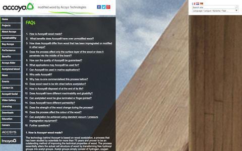 Screenshot of FAQ Page accoya.com - FAQs   Accoya - captured Oct. 31, 2014