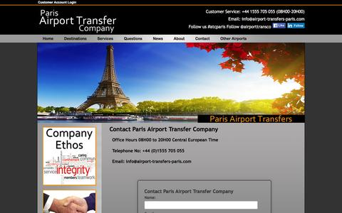 Screenshot of Contact Page airport-transfers-paris.com - Paris Airport Transfer Company, Contact Page - captured March 14, 2016