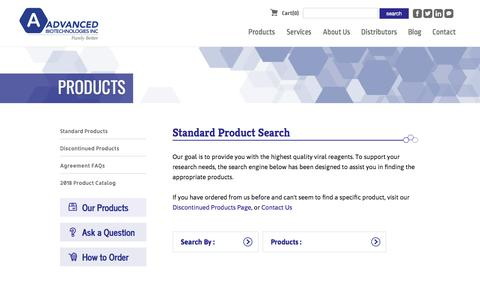 Screenshot of Products Page abionline.com - Standard Products | Advanced Biotechnologies | Your Viral Reagent Company - captured Sept. 26, 2018
