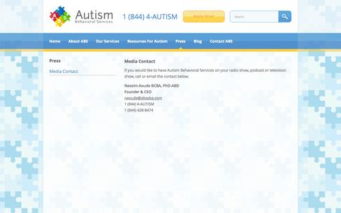 Screenshot of Press Page absaba.com - Media Contact | Autism Behavioral Services - captured Oct. 4, 2014