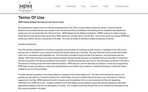 Screenshot of Terms Page mpmcapital.com - Terms Of Use - MPM Capital - captured Nov. 19, 2016