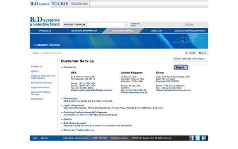 Screenshot of Support Page rndsystems.com - Customer Service - captured Nov. 3, 2014