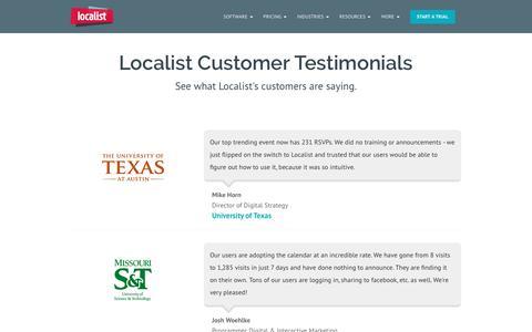 Screenshot of Testimonials Page localist.com - Calendar Marketing Software Testimonials - Localist - captured April 13, 2016