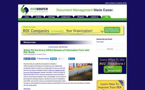 Screenshot of Blog onesourcedoc.com - Blog - captured Sept. 29, 2016