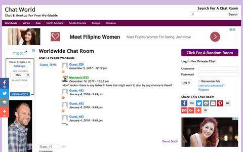 Screenshot of Home Page chat-world.net - Chat World - Chat & Hookup For Free Worldwide - captured Jan. 29, 2018