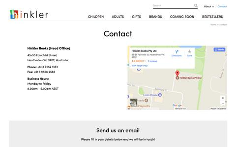 Screenshot of Contact Page hinkler.com.au - Contact Hinkler for Quality Books in Australia - captured July 11, 2017