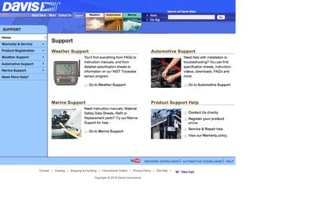 Screenshot of Support Page davisnet.com - Davis Instruments Support for Weather, Automotive, and Marine Products - captured Feb. 2, 2016