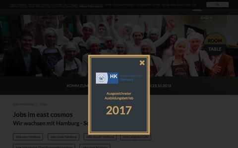 Screenshot of Jobs Page east-hamburg.de - Jobs: east Hamburg Hotel und Restaurant - captured Sept. 22, 2018