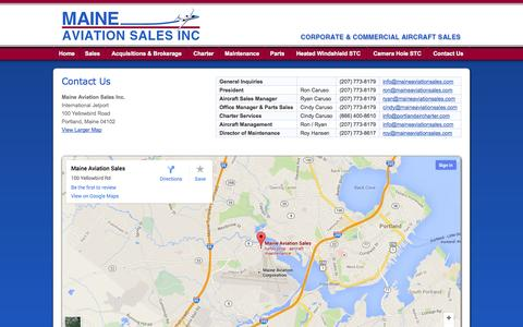 Screenshot of Contact Page maineaviationsales.com - Maine Aviation Sales Inc. - Corporate & Commercial Aircraft Sales - captured Sept. 30, 2014