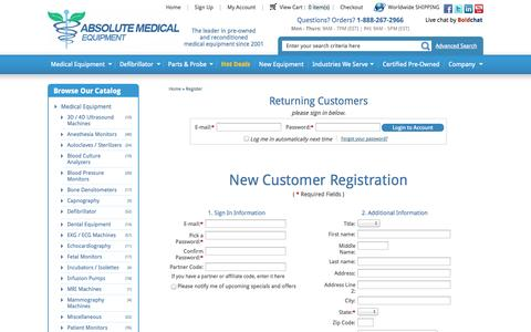 Screenshot of Signup Page absolutemed.com - New Customer Registration |  Absolute Medical Equipment - captured Oct. 31, 2014