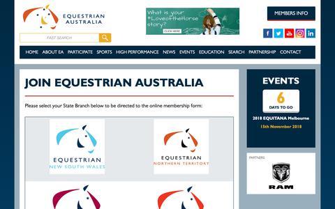 Screenshot of Signup Page equestrian.org.au - Join Equestrian Australia | Equestrian Australia - captured Nov. 8, 2018