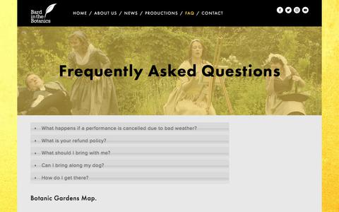 Screenshot of FAQ Page bardinthebotanics.co.uk - Frequently Asked Questions — Bard in the Botanics - captured Aug. 5, 2017