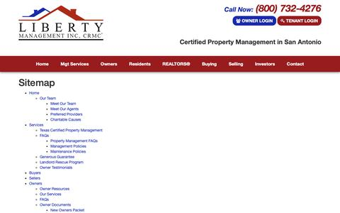 Screenshot of Site Map Page libertymgt.net - Sitemap - captured Sept. 28, 2018