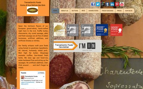 Screenshot of Home Page transatlanticfoods.com - Transatlantic Foods - Home of great bacon, sausages and charcuterie - captured Oct. 7, 2014