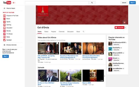 Screenshot of YouTube Page youtube.com - Col d'Orcia  - YouTube - captured Oct. 22, 2014