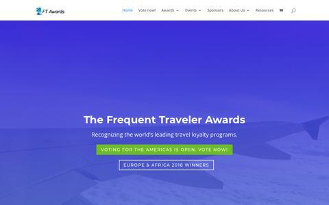 Screenshot of Home Page ftawards.com - The Frequent Traveler Awards. The Voice of the Frequent Traveler. - captured Oct. 11, 2018