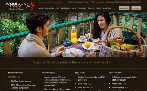 Screenshot of Menu Page narrowsescape.com.au - Enjoy a delicious meal in the privacy of your pavilion. | Narrows Escape - captured Oct. 20, 2018