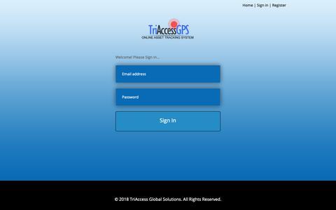 Screenshot of Login Page triaccessgps.com - TriAccessGPS - captured Oct. 20, 2018