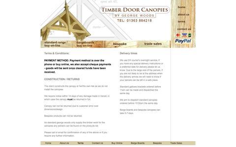 Screenshot of Terms Page timberdoorcanopies.co.uk - Timber Door Canopies | Terms & Conditions - captured Oct. 2, 2014