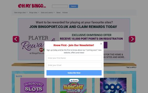 Screenshot of Home Page ohmybingo.com - Online Bingo Reviews | Bingo Sites + Bingo Offers | OhMyBingo - captured April 6, 2019