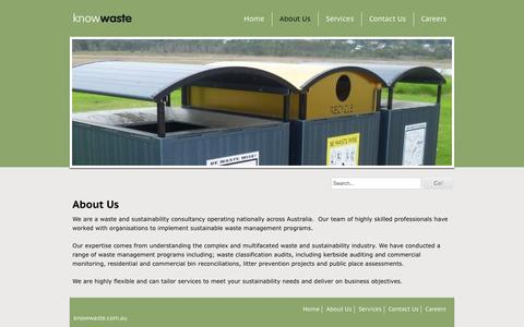 Screenshot of About Page knowwaste.com.au - About Us - Knowwaste - captured Oct. 6, 2014