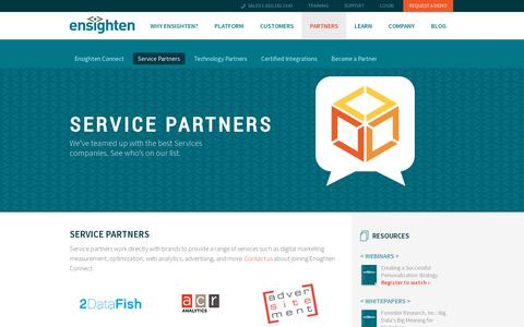 Screenshot of Services Page ensighten.com - Ensighten | Our Tag Management Partners - captured July 19, 2014