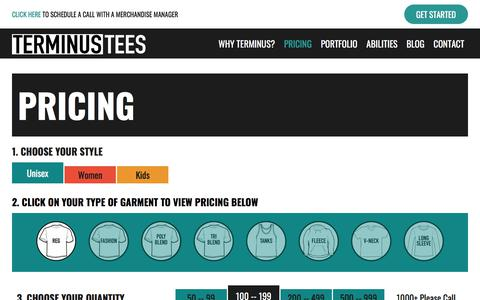 Screenshot of Pricing Page terminustees.com - Garment Pricing | Terminus Tees - captured Sept. 20, 2018
