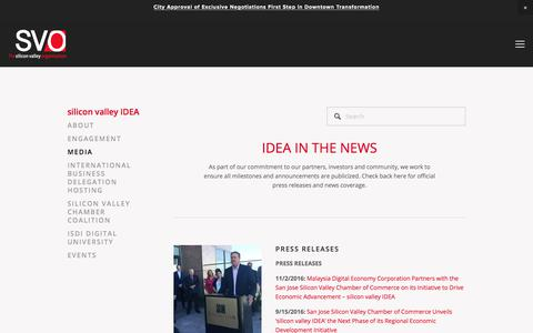 Screenshot of Press Page thesvo.com - MEDIA — The Silicon Valley Organization - captured June 28, 2017