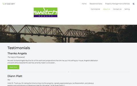 Screenshot of Testimonials Page switchrealty.com.au - Switch Realty - Testimonials - captured Sept. 21, 2018