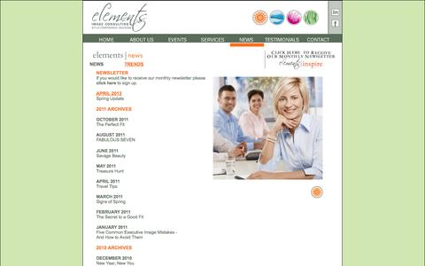 Screenshot of Press Page elementsimage.com - Elements Image Consulting is a personal image consulting company whose work revolves around the principles of style, confidence and success. - captured Oct. 2, 2014