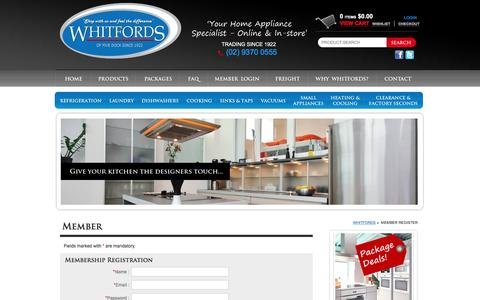Screenshot of Signup Page whitfordshomeappliances.com.au - Member Register - Whitfords - Your Home Appliance Specialist - captured Feb. 14, 2016