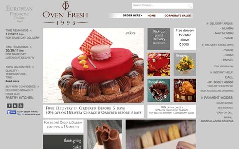 Screenshot of Home Page ovenfresh.in - Best Cake Shop in Mumbai | Online Cake Delivery in Mumbai | OVENFRESH.IN - captured March 4, 2016