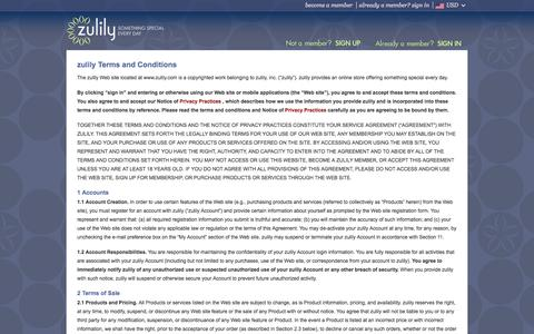 Screenshot of Terms Page zulily.com - Terms & Conditions | zulily - captured Sept. 17, 2014