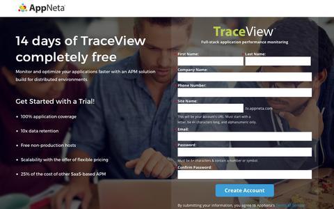 Screenshot of Landing Page appneta.com - Free Trial | TraceView Full-Stack Application Performance Monitoring | AppNeta - captured Feb. 27, 2016