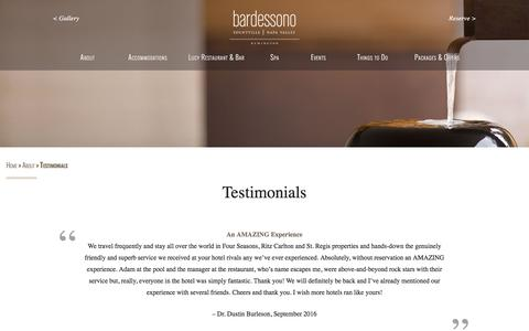 Screenshot of Testimonials Page bardessono.com - Bardessono Hotel & Spa, Yountville, CA - Bardessono Guest Reviews - captured Sept. 16, 2016