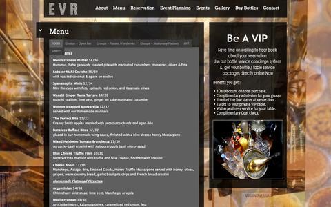 Screenshot of Menu Page evrnyc.com captured Oct. 1, 2014