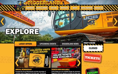 Screenshot of Home Page diggerlandusa.com - Diggerland USA - Construction Theme Park - West Berlin, NJ - captured Sept. 19, 2014