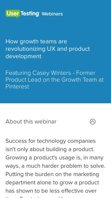 OnDemand Webinar -  How growth teams are revolutionizing UX and product development | UserTesting